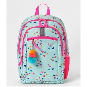 Cat&Jack Kids Girls Hearts Backpack Bag Green Pink